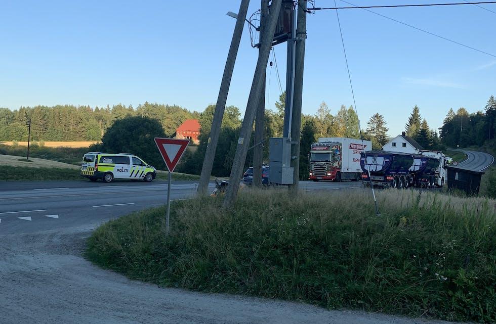 Klovdal: Lastebilene på bildet har ikke noe med ulykken å gjøre.