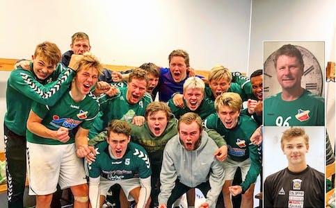 Opprykk: Her feirer Skades herrelag en seier i opprykkssesongen 2019. Innfelt ser vi Svein Ove Kåsa og Even Tinnesand.